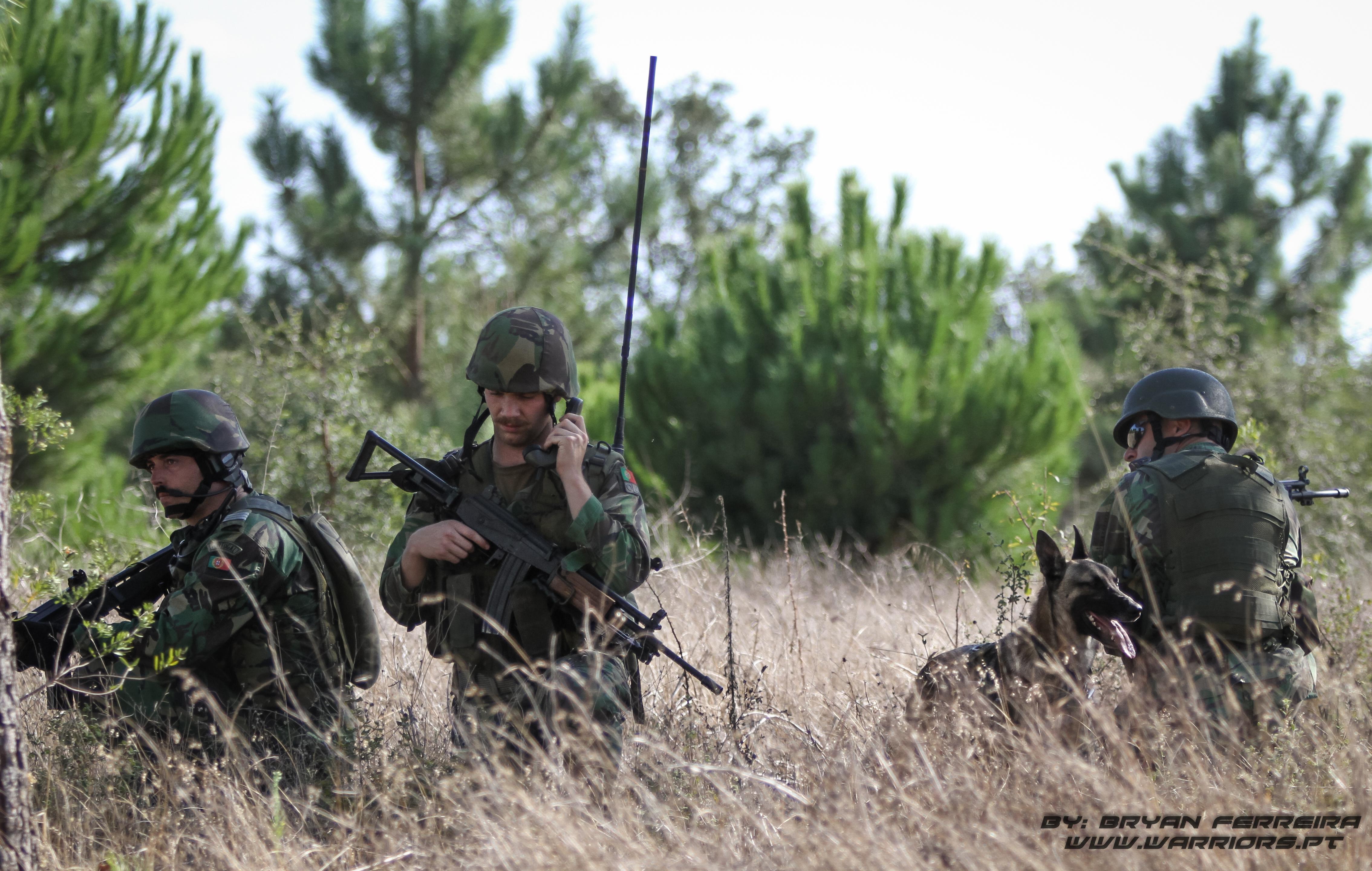 Comunicações no terreno. Estão acompanhados de elementos da Secção de Cães de Guerra dos Paraquedistas. Elementos do 2º Batalhão Paraquedista, BIPARA